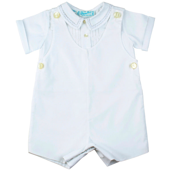 Boys White Shortall Romper