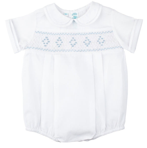 Baby Boys Smocked Embroidered Diamond Creeper