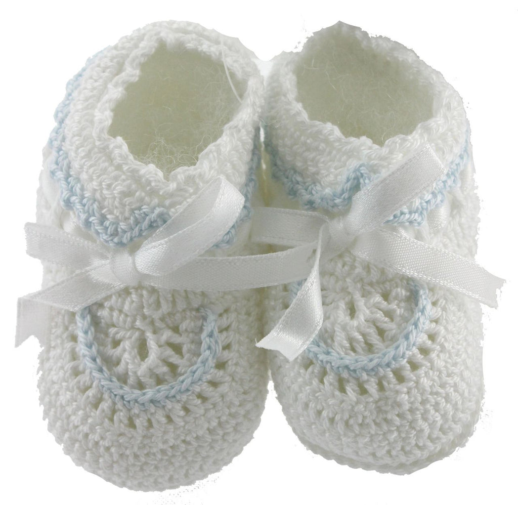Boys White Crochet Booties with Blue Trim and White Satin Ribbon