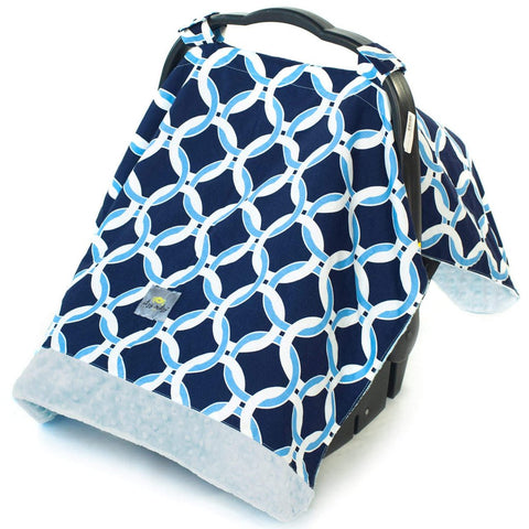 Infant Car Seat Canopy - Blue Circles