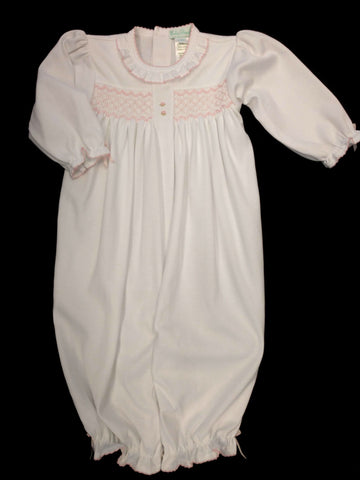 Girls Newborn White Smocked Convertigown/Longall