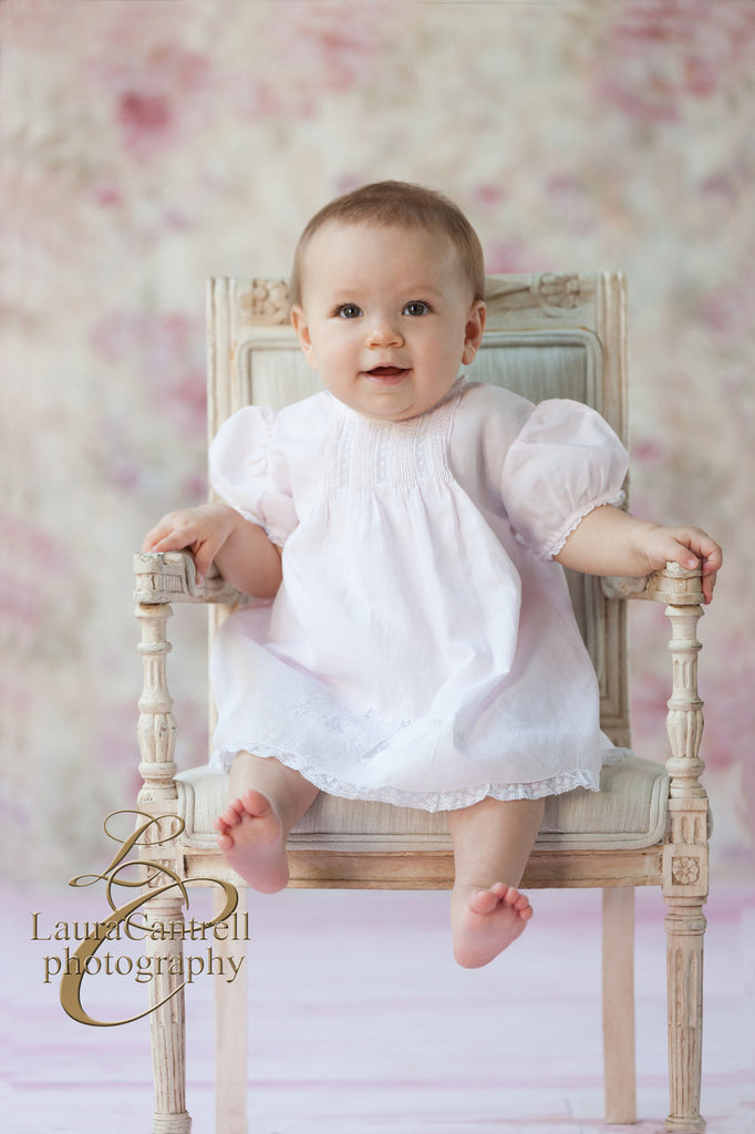 Baby Girls Slip Dress With Pintucks and Lace