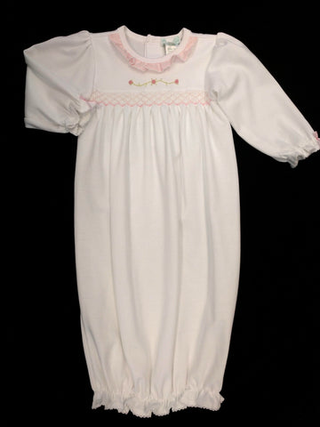 Girls Newborn White Smocked Gown