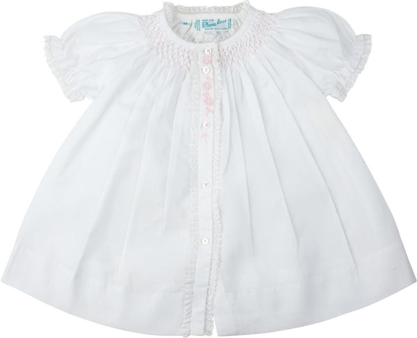 Newborn Baby Girls Smocked Yoke Open Front Daygown