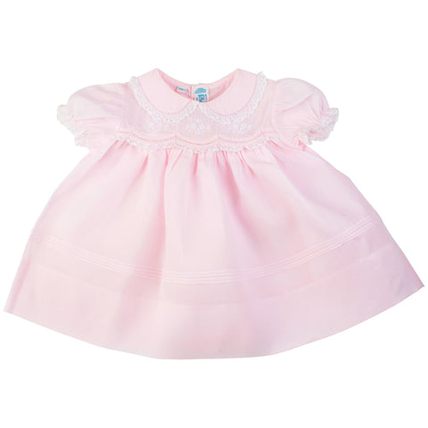 Pink Newborn Baby Girls Dress With Scalloped Lace