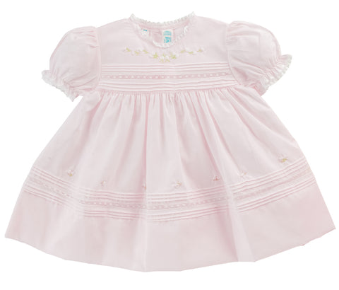 Newborn Baby Girls Floral Bullions Dress in Pink or White