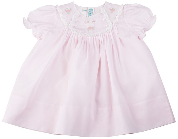 Newborn Baby Girls Pink Vintage Bow Dress With Lace