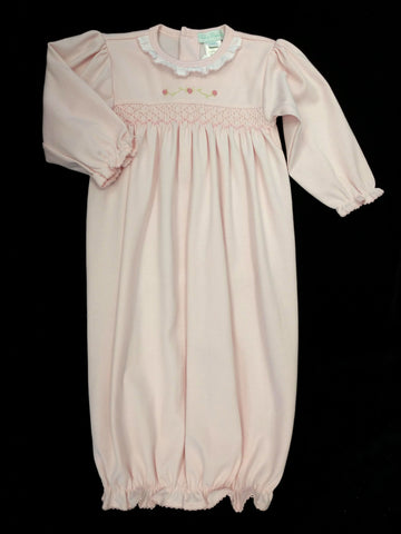Girls Newborn Pink Smocked Baby Gown