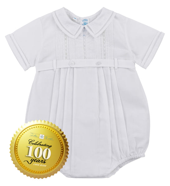 Baby Boys White Lace Button Bubble