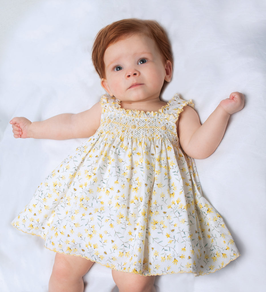 Yellow Floral Smocked Bumble Bee Sun Dress
