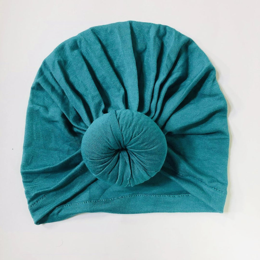 Sugar + Maple Baby Top Knot Hat - Peacock