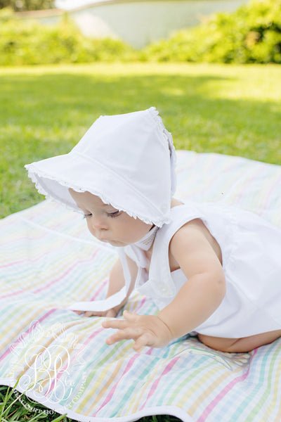 Catesby Country Club Bonnet - Worth Avenue White with Eyelet