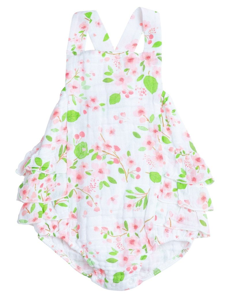Baby Girls Cherry Blossom Ruffle Bib Bubble Sunsuit
