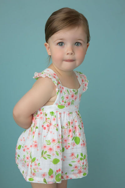 Baby Girls Cherry Blossom Pinafore Top and Bloomer