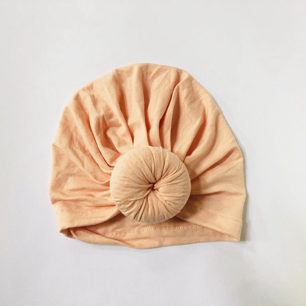 Sugar + Maple Baby Top Knot Hat - Peach