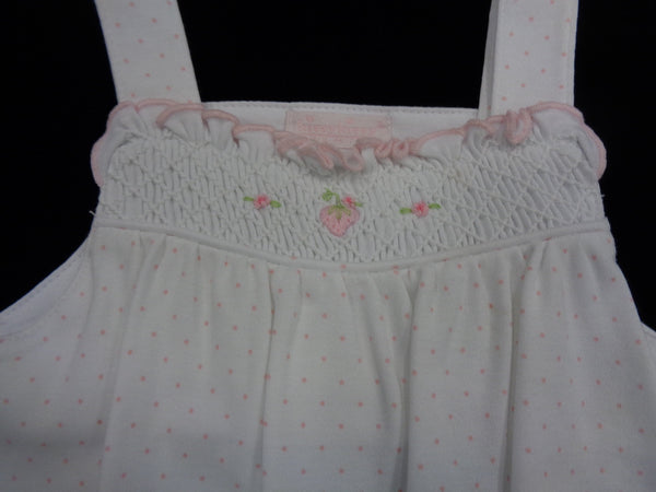 White/Pink Smocked Bubble with Embroidered Strawberries