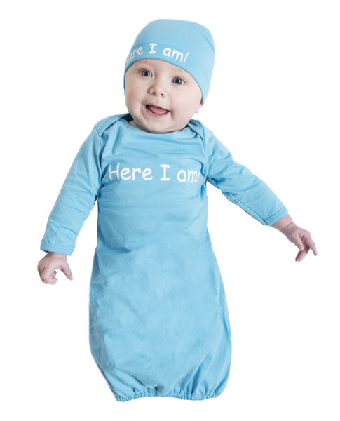 "Eden Aqua Blue ""Here I am"" Baby Receiving Gown & Hat"