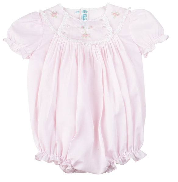 Baby Girls Pink Bubble With Embroidered Lace