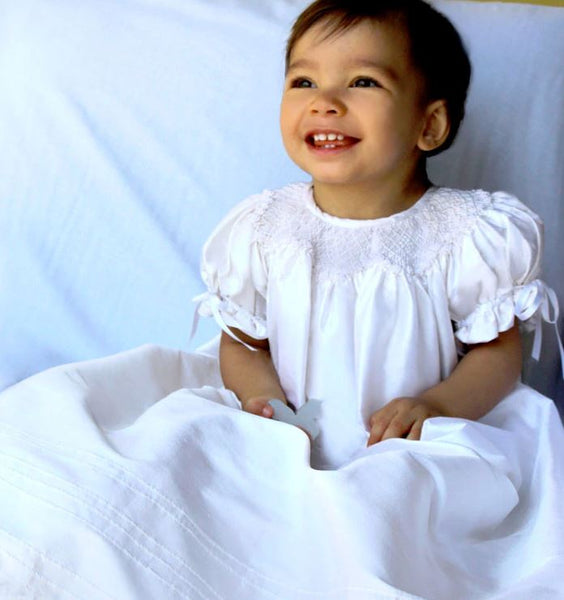 Garland Smocked Christening Gown