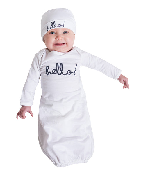 """Hello"" Baby Receiving Gown & Hat"