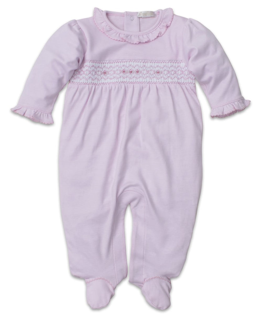 Classic Pink Hand Smocked Footie