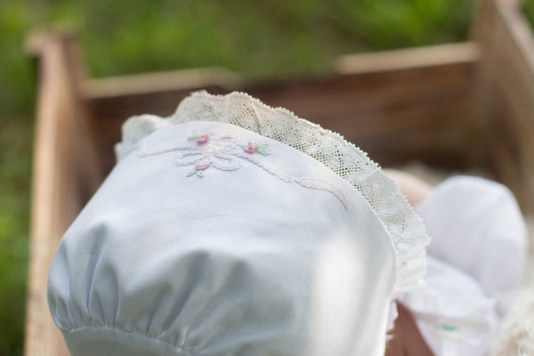 Vintage Bow and Lace Bonnet