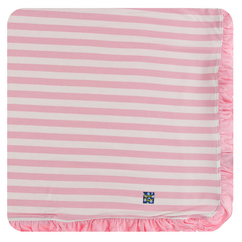 Essentials Print Ruffle Stroller Blanket in Lotus Stripe