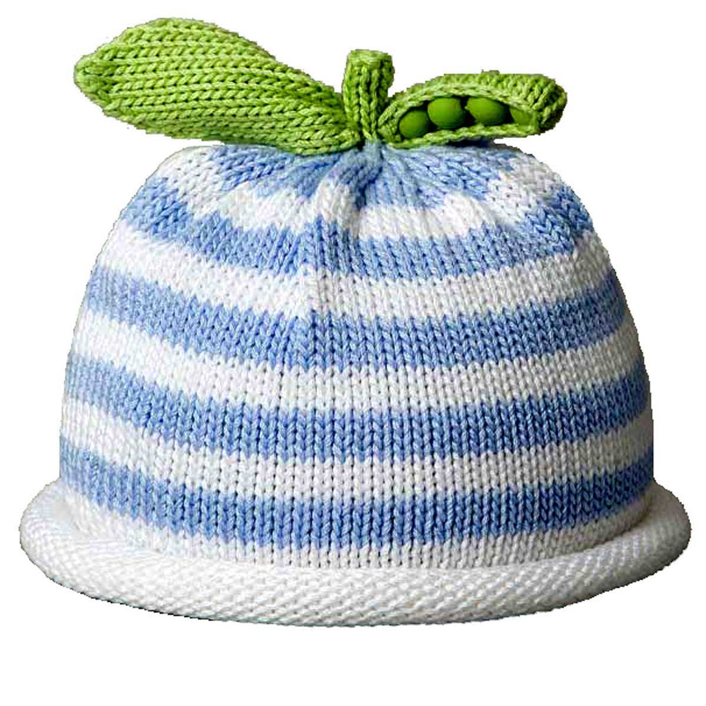 Pea Pod Baby Hat - Blue Stripe