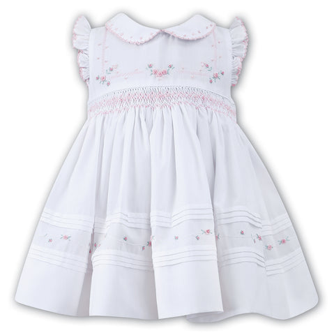 Baby Girls Smocked White/Pink Angel Sleeve Dress