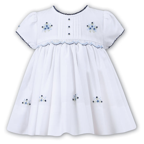 White With Navy Puff Sleeve Smocked Dress