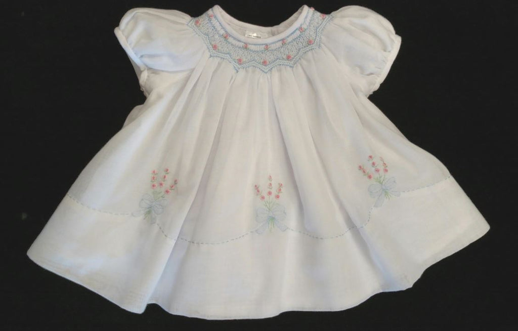 Hand Smocked White with Blue Voile Baby Girl Dress