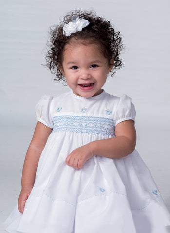 Girls White/Blue Smocked Puff Sleeve Dress