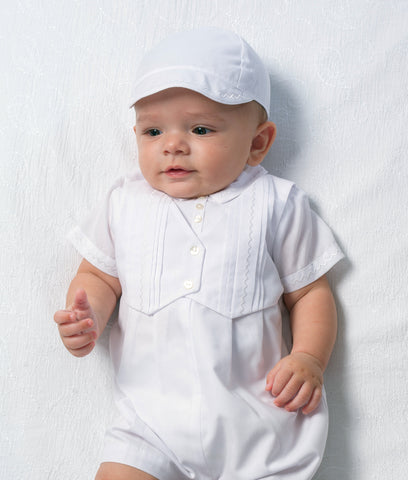 Baby Boys Christening Outfit with Vest and Hat