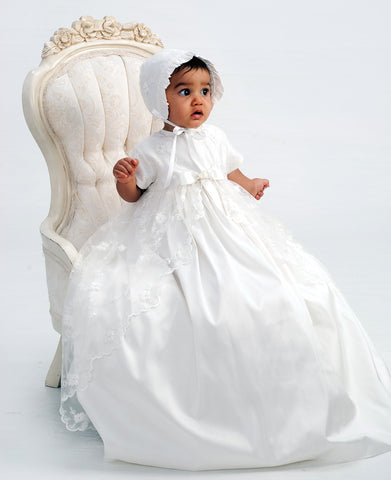 Girls Ivory Silk and Lace Christening Gown & Bonnet
