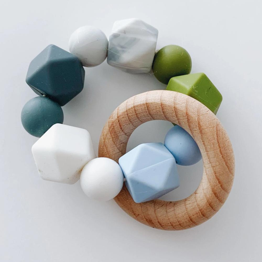 Silicone + Beechwood Teether- Multi - Blue