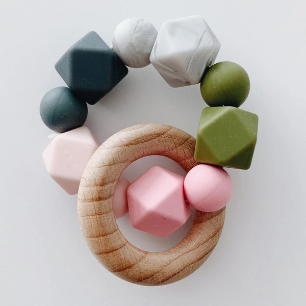 Silicone + Beechwood Teether- Multi - Pink