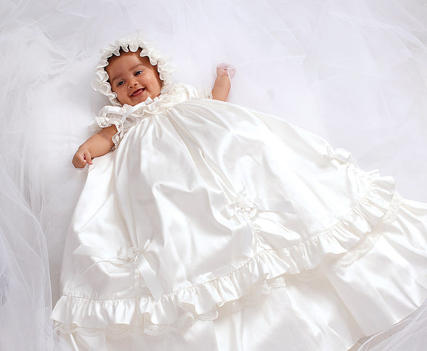 Girls Silk Christening Gown & Bonnet