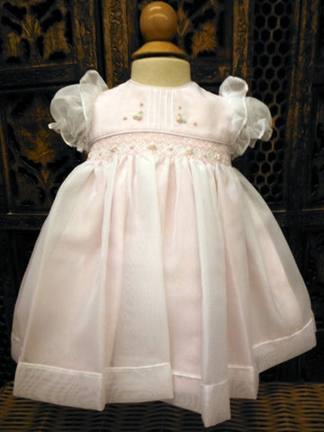 Pink Organza Smocked Dress