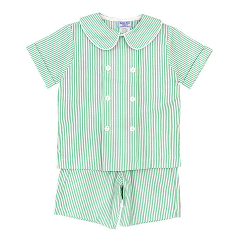 Summer Green Seersucker Dressy Short Set