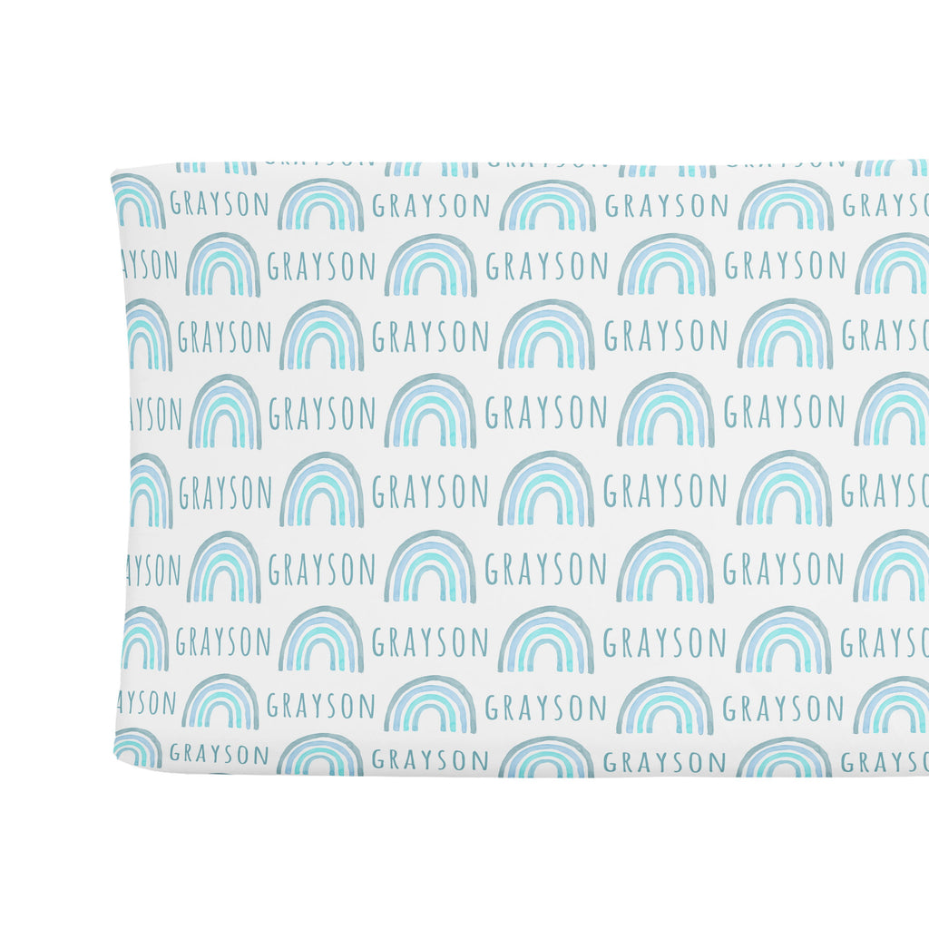 Sugar + Maple Changing Pad Cover - Rainbow Blue