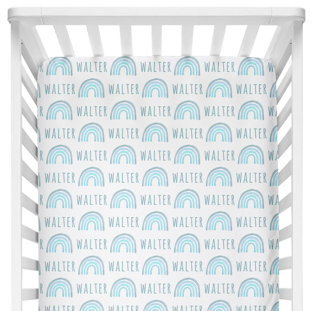 Sugar + Maple Crib Sheet - Rainbow Blue