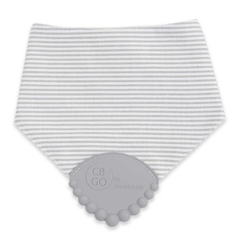 Drool Bib with Teether-Grey Stripe