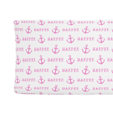 Sugar + Maple Changing Pad Cover - Anchor Pink