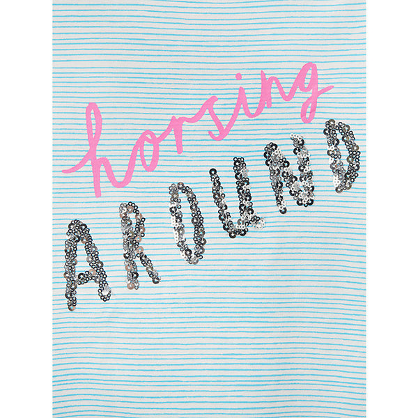 Girls Aqua Stripe Horsing Around T-Shirt