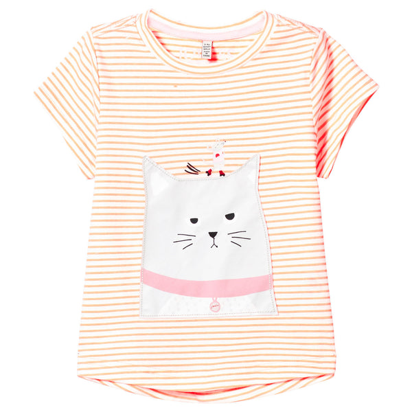 Orange Stripe Cat T Shirt