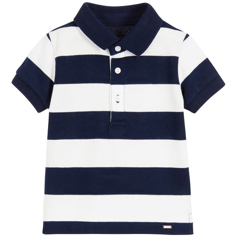 Navy Stripe Short Sleeve Polo Short