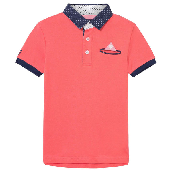 Coral Polo Shirt With Navy Trim