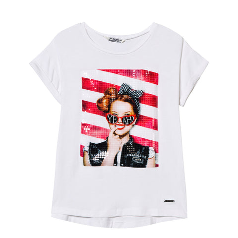 Girl rolled sleeve t-shirt with applique Yeah Shirt