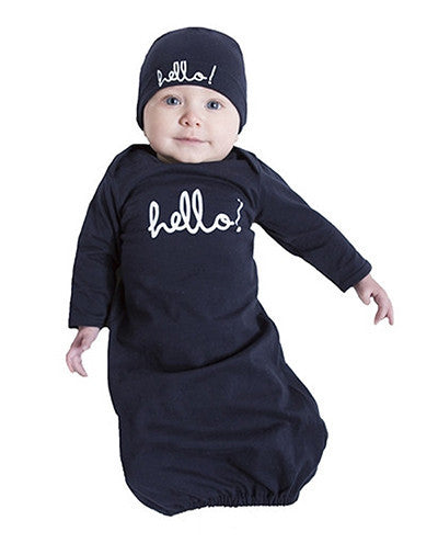 Baby Be Mine Navy Hello Baby Receiving Gown & Hat