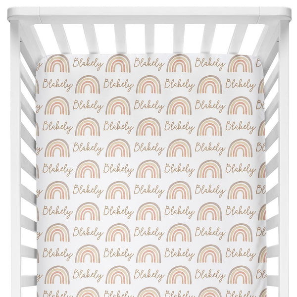 Sugar + Maple Crib Sheet - Rainbow Neutral